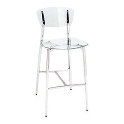 Girari - Acrylic Stool Polished Metal Frame/Legs - Girari's Flagship stool featuring an acrylic seat and back with highly polished frame and legs.