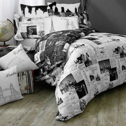 Rjs Trading International Ltd./ca - Passport Reversible Duvet Cover Set - Take a world tour of some of the greatest world cities with this Passport reversible duvet cover and sham set.