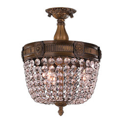 Worldwide Lighting - Winchester 3 Lights Antique Bronze Finish Crystal Semi-Flush Mount Ceiling Light - This stunning 3-light Flush-mount only uses the best quality material and workmanship ensuring a beautiful heirloom quality piece. Featuring a cast aluminum base in antique bronze finish and all over clear crystal embellishments made of finely cut premium grade 30% full lead crystal, this flush mount will give any room sparkle and glamour. Worldwide Lighting Corporation is a premier designer manufacturer and direct importer of fine quality chandeliers, surface mounts, and sconces for your home at a reasonable price. You will find unmatched quality and artistry in every luminaire we manufacture.