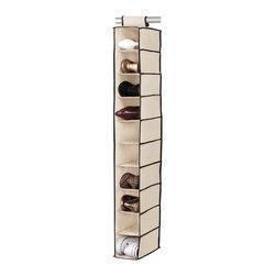 None - 10-shelf Cream/ Black Shoe Organizer - Keep yourself organized with this 10-shelf closet shoe organizer. This collapsible shoe organizer offers easy hook and loop installation.