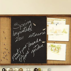Rustic Home Office Wall Organizer Sliding Chalkboard/Pinboard - This relaxed wall-mounted system organizes your household's busy schedule. The Burlap-covered sliding pinboard/chalkboard design lets you pin up cards and calendars and write notes on chalkboard surface. The Activity Center has six cubbies to organize accessories and display special momentoes with space for to-do lists and notes. Burlap-covered pinboard design was re-created from vintage postmarks. Whiteboard calendar offers space for to-do lists and notes, and includes a dry-erase pen and eraser. Magazine Rack has three bars to suspend magazines. Framed in solid wood and sealed with our natural rustic finish. Catalog / Internet only.