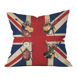 DENY Designs - Eric Fan Meet The Beetles Outdoor Throw Pillow - Do you hear that noise? It's your outdoor area begging for a facelift and what better way to turn up the chic than with our outdoor throw pillow collection? Made from water and mildew proof woven polyester, our indoor/outdoor throw pillow is the perfect way to add some vibrance and character to your boring outdoor furniture while giving the rain a run for its money. Custom printed in the USA for every order.