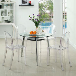 """LexMod - Casper Ghost Dining Chairs Set of 4 in Clear - Casper Dining Chairs Set of 4 in Clear - Combine artistic endeavors into a unified vision of harmony and grace with the ethereal Casper Chair. Allow bursts of creative energy to reach every aspect of your contemporary living space as this masterpiece reinvents your surroundings. Surprisingly sturdy and durable, the Casper Chair is appropriate for any room or outdoor setting. Pure perception awaits, as shining moments of brilliance turn visual vacuums into new realms of transcendence. Set Includes: Four - Casper Side Chairs For Outdoor Use, No Assembly Required, Injection Molded, Stackable, Sturdy Acrylic Overall Product Dimensions: 19""""L x 15""""W x 36""""H Seat Height: 18.5""""H - Mid Century Modern Furniture."""