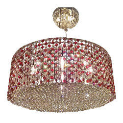 "Worldwide Lighting - Prism 7 Light Chrome Finish Clear & Red Crystal Strings Chandelier 24"" Round - CLEARANCE ITEM!"