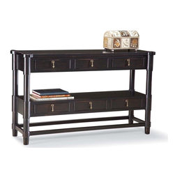 Fairfield Chair Company - Antique Black Finish Sofa Table w Shelf & 6 D - Six drawers. One shelf. Made from wood. 52 in. W x 16 in. D x 31 in. H