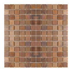 """Eden Mosaic Tile - Medium Square Antique Copper Mosaic Tile Pack (11 Sheets) - This copper mosaic tile is made with real pieces of copper that have an antique finish. This mosaic features medium sized square shaped copper tiles because of the size of the individual pieces this tile is suitable for wrapping around slightly rounded walls and other objects. The tiles in this sheet are mounted on a nylon mesh which allows for an easy installation. Squares are 0.9""""x0.9"""". Imported."""