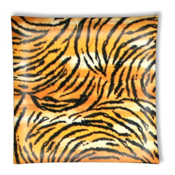 """Tiger Stripe Print Ceiling Light - 12"""" square semi flushmount ceiling lamp with designer finish. Includes complete installation instructions and complete light fixture. Wipes clean with a damp cloth. Uses 2-60 watt bulbs (not included) and is made with eco-friendly/non-toxic products. This is not a licensed product, but is made with fully licensed products."""