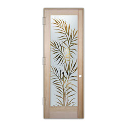 "Sans Soucie Art Glass (door frame material T.M. Cobb) - Interior Glass Door Sans Soucie Art Glass Ferns Negative - Sans Soucie Art Glass Interior Door with Sandblast Etched Glass Design. GET THE PRIVACY YOU NEED WITHOUT BLOCKING LIGHT, thru beautiful works of etched glass art by Sans Soucie!  THIS GLASS IS SEMI-PRIVATE.  (Photo is View from OUTside the room.)  Door material will be unfinished, ready for paint or stain.  Satin Nickel Hinges. Available in other wood species, hinge finishes and sizes!  As book door or prehung, or even glass only!  1/8"" thick Tempered Safety Glass.  Cleaning is the same as regular clear glass. Use glass cleaner and a soft cloth."