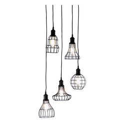 Zentique - Dawson Hanging Light - The Dawson Hanging Light features five unique bulb shades. Light bulbs NOT included. UL Listed