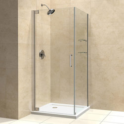 "BathAuthority LLC dba Dreamline - Elegance Frameless Pivot Shower Enclosure, 34"" D x 32"" W x 72"" H, Chrome - The Elegance shower enclosure combines clean minimal styling with exceptional quality. Opulent 3/8 in. thick tempered glass and a fluid frameless design create a prefect mix of strength and beauty. The corner installation maximizes space and becomes the heart of a bathroom design, while minimal hardware generates an open and airy appeal."