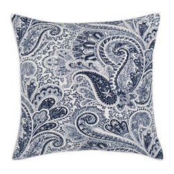 5 Surry Lane - Blue Penmanship Script Cotton Pillow Cover Typography - Add a pop of color and pattern to your sofa, bed or favorite chair with this script patterned pillow.  Same fabric front and back.  Down feather insert included.  Hidden zipper closure.  Made in the USA.