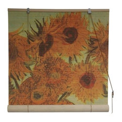 "Oriental Unlimited - Sunflowers Bamboo Blinds (72 in.) - Choose Size: 72 in.Featuring the Van Gogh masterpiece ""Sunflowers,"" this color drenched window blind will be an artistic addition to any decor. Finished in muted shades of red and orange, the blind is made of matchstick bamboo and is available in your choice of sizes. Feature the famous image of Vincent Van Gogh's Sunflowers painting. Easy to hang and operate. 24 in. W x 72 in. H. 36 in. W x 72 in. H. 48 in. W x 72 in. H. 60 in. W x 72 in. H. 72 in. W x 72 in. H"