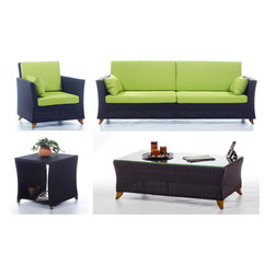 All Things Cedar - RATTAN wicker 8 Ft. SOFA PATIO SET w/ Lime Green cushion - Our deep seating furniture offers plenty of room for entertaining or just a weekend of relaxing :  SET INCLUDES: SOFA ( 92w x 33d x 34h ) : ARM CHAIR ( 33w x 33d x 34h ) : COFFEE TABLE (47w x 27d x 16h)  : SIDE TABLE ( 20w x 20d x 20h )  6 Green Cushions for the Sofa plus 2 Side Pillows and 2 Green Cushions for the Arm Chair plus 1 Side Pillow