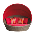 """Wicker Paradise - Santa Barbara Wicker Day Bed - Sunbrella Red Cushions - Our outdoor day bed is perfect for you to enjoy on those hot summer days. Take time for yourself to relax and take a nap in our outdoor wicker bed. The bed is made of polyethylene wicker on a powder coated aluminum frame. The bed measures 72"""" wide and 70"""" deep. The back measures 33"""" high and the seat height is 15"""". The Santa Barbara Day Bed is an amazing addition to your outdoor space!"""