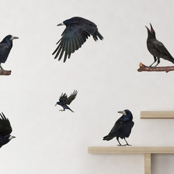 Walls Need Love - The Ravens Of Yore, Adhesive Wall Decal - The frames are not included but can be purchased separately for added effect.