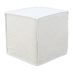 """Chooty - Chooty Nottingham Natural Flocked Collection 17"""" Square Seamed Foam Ottoman - Insert 100 High Density Foam, Fabric Content 100 Cotton, Color Tan, Cream , Hassock 1"""