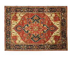 Manhattan Rugs - New Hand Knotted Veg Dyed Heriz Serapi 10'x14' Red/Navy Oriental Wool Rug H3611 - Heriz is situated in the northwestern part of Iran (Persia).  Though the term covers Hand knotted rugs of numerous small villages in the area, the most beautiful Rugs were woven in Heriz itself For the last 100 years, the Heriz carpet designs have basically remained the same, with only small variations in color pallets and density of the design. The late 19th Century Rug (so called Serapis) was of fewer details and softer colors and with time designs became denser with added jewel tone color pallets. The revival of the carpet industry in the late 19th Century was based on the demand of the Western markets, with America in particular. Weavers in Heriz hand knotted were asked to make carpets inspired by the Fereghan Sarouks of higher cost for consumers of more limited budgets. Even though Sarouk carpets changed style later on, Heriz weavers stayed with the geometric pattern till now. However, Heriz was also a center of production of some of the best handmade carpets with both geometric and curvilinear floral patterns.  A special heirloom wash produces the subtle color variations that give rugs their distinctive antique look.