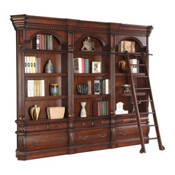 Parker House - Parker House Versailles 3-Piece Museum Bookcase with Ladder in Dark Almond - Since 1946, Parker House has taken great pride to produce quality furniture while still keeping customer satisfaction a number one priority. As a family owned and operated company, Parker House has been able to stay true to their commitment by manufacturing solid wood furniture in a variety of rich finishes, accented with fine, exquisite details. Choose between a selection of unique collections of furniture ranging from entertainment centers, home office furniture, library walls, and media centers. Parker House exemplifies quality workmanship and materials with stunning beauty, ensuring that these furniture pieces will becomes fixtures in your household for generations to come.