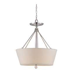 Deluxe Drum Shade Chandelier - A swank, modern look inspired by the sleek , mid-century homes of Southern California. The bold, geometric framework is made of solid, chrome plated steel and genuine lead crystal, and surrounded by an ivory cloth drum shade. 5 interior lights provide ample illumination and maximum style.