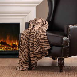 Madison Park - Madison Park Chapman Long Fur Zebra Throw - The warm chocolate brown and beige zebra stripes create both style and function for this throw. Made from 300 gsm polyester brushed long fur, this blanket features a 200 gsm polyester micro fur reverse for softness no matter which way it is used.