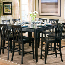 Coaster - Pines Collection Counter Height Table in Black - This counter height dining set gives you the ability to have up to 8 chairs of able seating for friends and family. Crafted from select hardwoods and veneers. Offered in a rich black finish.