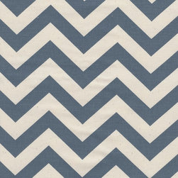 """Close to Custom Linens - 84"""" Shower Curtain, Lined, Zigzag Chevron Denim Blue Natural - Zigzag is a medium scale chevron in denim blue on natural cotton. The stripes are 3/4 inch wide. Reinforced button holes for 12 curtain rings."""