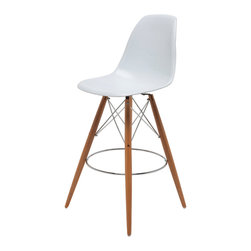 Nuevo Living - Charlotte Counter Stool in White Eiffel Wood Dowel Base by Nuevo - HGQM106 - The Charlotte Counter Stool in White features an ABS seat, chromed steel frame, solid oak wood dowel legs and is a classic Eiffel based mid-century classic counter sool.