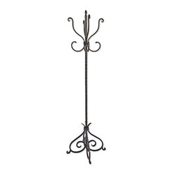 Mathews & Company - Alexander Standing Coat Rack - Add an old fashioned look to your homes entryway with the Alexander standing coat rack. Standing at just over five feet tall, this elegant coat rack has eight different hooks to hold your coats. The standing coat rack is perfect for guests as they can simply hang their coats by the door rather than in your closet. This rack can also be used for hats, scarves, or other apparel.