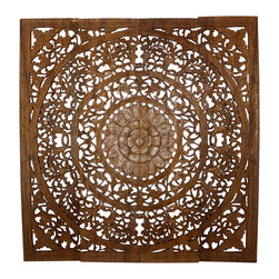 Kammika - Lotus Wall Panel 3D Reclaimed Teak 48x48x1 inch in Brown Stain and Natural Wax - Witness the evolution of style. The awe-inspiring artistry of our Lotus Wall Panel 3D Design Reclaimed Recycled Teak 48 inch x 48 inch x 1 inch thick with Eco Friendly Water-based Brown Stain and Natural Wax Finish takes home decorating to a whole new level. We use a natural eco friendly water based non toxic brown stain to darken the panels, and then lightly sand the carved surfaces to create light brown highlights; the natural reclaimed teak shows through. This truly elegant and unique piece is then rubbed in natural wax to seal the wood. Each section is about 12 inch wide. Each panel is carved out of joined panels of old teak wood. To make hanging easier, there are two embedded flush mount Keyhole hangers for a protruding screw from your wall. Hand carved by craftspeople in Thailand, who spend hours shaping, sanding, and finishing these wonders of wood, each piece is unique and variations in wood color are evident. The colors will vary naturally, just like the trees from which the wood came many years before varied. Panels are shipped in sections for ease of shipping and a more manageable hanging weight. Crafted from reclaimed recycled Teak wood, we make minimal use of electric hand sanders in the finishing process. Products are dried in solar or propane kilns; no chemicals are used in the process, ever. After each eco friendly piece is kiln dried, sanded, hand rubbed with eco friendly black stain, and all natural wax; they are then packaged with cartons from recycled cardboard with no plastic or other fillers. As this is a natural product, the color and grain of your piece of Nature will be unique, and may include small checks or cracks that occur when the wood is dried. Sizes are approximate. Products could have visible marks from tools used, patches from small repairs, knot holes, natural inclusions or holes. There may be various separations or cracks on your piece when it arrives. There may be some slight variation in size, color, texture, and finish color. Only listed product included.