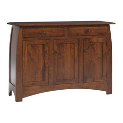 Mission Sideboard - The smooth, gentle curves of the Amish Bordeaux Sideboard functions in any room of your house.  This contemporary, handcrafted Mission Sideboard is perfect for holding your delicate plates and china in the dining room, organizing your clothes in the bedroom, or acting as a bar in your kitchen.