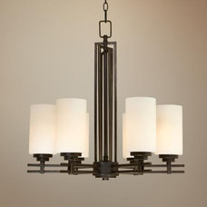 Bronze with Etched White Glass 6-Light Chandelier