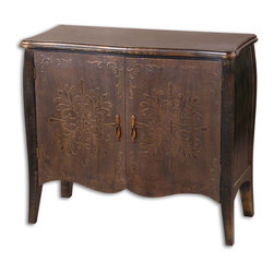 Uttermost - Etoile Antiqued Console Cabinet - Painted Black Finish With Rub Through Distressing. Curved Doors Are Rust Brown With Cloth Texture And Raised Relief. One Fixed Shelf.