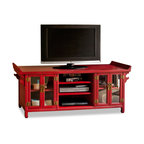 """China Furniture and Arts - Elmwood Altar Style Media Cabinet - Made of beautiful Elmwood in ancient altar style, this cabinet can be used as a sideboard to store books or use it as living room furniture to place a flat screen TV on. Hand crafted from Northern China, multi-layer of traditional lacquer technique gives this piece its depth. Distressed red finish complements any decorative object leaving you with a great opportunity to unleash your creativity. Removable shelves inside for your storage convenience. The interior measurements for the glass cabinet with shelf are 17""""Wx17""""Dx9""""H; the middle compartments are 20""""Wx17""""Dx5""""H each. Cabinet is 24""""H off the floor Cable outlets can be made upon request."""