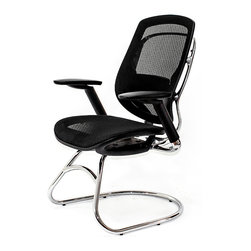 At the Office - 1 Series Guest Chair - This striking chair looks like a hybrid of an office chair and a chair for your living room, formed to make one stylish place for your guest to sit. Featuring taut mesh, its inviting armrests, comfy seat and sturdy sled base and will leave you wanting to sit for hours.