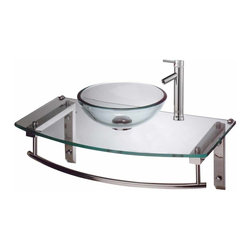 The Renovators Supply - Wall Mount Sinks Clear Glass Boston Wall Mount Sink W/ Faucet | 16012 - Sail into safe waters with Boston Harbor wall mount tempered glass vessel sink and faucet. This modern lever-style faucet is made of solid brass, with a chrome-plated finish and a top rated 500,000 cycle cartridge. The sink counter is Field Reversible. Counter 27 1/2 inch wide x 15 1/2 inch projection Bowl 11 3/4 inch in diameter x 4 inch deep.