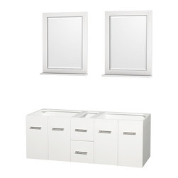 """Wyndham Collection - Centra Bathroom Vanity in White,No Top,No Sinks,24"""" Mirs - Simplicity and elegance combine in the perfect lines of the Centra vanity by the Wyndham Collection. If cutting-edge contemporary design is your style then the Centra vanity is for you - modern, chic and built to last a lifetime. Available with green glass, pure white man-made stone, ivory marble or white carrera marble counters, with stunning vessel or undermount sink(s) and matching mirror(s). Featuring soft close door hinges, drawer glides, and meticulously finished with brushed chrome hardware. The attention to detail on this beautiful vanity is second to none."""