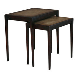TerraSur - Ardesia Nesting Tables - If you've been thinking about buying nesting tables but just haven't made the move, now's the time to go for it. These sleek, refined tables feature a gauze inset top that is hand-painted