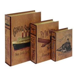 Home Decorators Collection - Traveler Book Box - Set of 3 - This vintage-inspired set of Traveler Book Boxes combines a vibrant palette with added charm. The book boxes, depicting travel by air, sea and rail, open to store and organize items throughout your home. Add world travel to your home and order your set now. Quality crafted of wood and leather for years of beauty. Finished in brown.