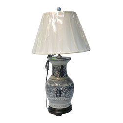 Golden Lotus - Chinese Blue & White Double Happiness Porcelain Vase Table Lamp - This is an oriental table lamp with porcelain blue & white vase shape base in Chinese Double Happiness characters pattern.