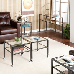 Upton Home - Bunch Metal Table Collection (Set of 5) - Add a contemporary look to your room while having storage options with this elegant Metal Table Collection. It includes two bunch and end tables and a sofa table all made of durable metal and tempered glass, featuring a distressed black finish.
