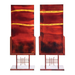 """Couleur - Red Dawn Glass Panel Art (set of 2) - Handcrafted by artisan glass blowers the Red Dawn Glass Panel Art collection is a perfect set of decorative art glass accessories for your home.  Because this is made of hand blown glass measurements are approximate - Each item will vary slightly in size and color.Specifications Dimensions: Are approximate because of the handmade nature of this product. (length x Depth x height) Each Item Measures: W 12"""" x D 5"""" H 27"""" (approximately) Made in: Mexico (MEX)  Style: Room: Living Room, Dining Room, OfficeUse: Decoration Only - Home Accent, Table Top Decor, Wall Decor, Shelf DecorIndoor / Outdoor: IndoorCare: Wipe clean with a soft damp cloth."""
