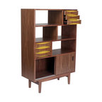 NyeKoncept - Hanna Storage Unit - This beautiful storage unit is the perfect example of maximum storage achieved through simple design. The open compartment with several sections, allow the display of your favorite colorful items, while the 6 matt colored with yellow drawers offer plenty of storage.