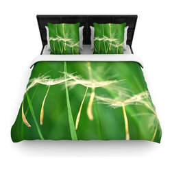 """Kess InHouse - Robin Dickinson """"Best Wishes"""" Green Flower Woven Duvet Cover (King, 104"""" x 88"""") - Add a splash of artistically inclined comfort to the average down comforter with a large focus to your bed! Our duvet cover is made of a beautifully crafted woven polyester fabric on top and a comforting and soft cotton/poly blend on bottom! We highly recommend washing your artwork before laying it onto your bed for added comfort and softness! These are totally machine washable and won't fade!�"""