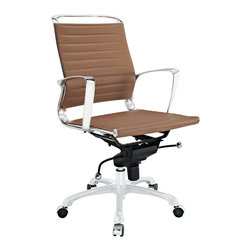 Modway Furniture - Modway Tempo Mid Back Office Chair in Tan - Mid Back Office Chair in Tan belongs to Tempo Collection by Modway Skip to a beat that your life's ambitions deserve. Tempo is a supercharged modern office chair that comes outfitted with all the amenities of its more stolid counterparts. The polished chrome-plated aluminum armrests portray a spirit on the rise, even as your arms find themselves properly positioned for the tasks at hand. The ribbed vinyl back and seat pattern help evenly disperse your body's weight, while instilling a look that imbues momentum and a love for life. Tempo comes equipped with a tension control knob and tilt lock to further personalize the chair, while the pneumatic chair lever easily adjusts the chair's height. The 360 degree swivel will also keep your inner ��_��_��_��_��_kid��_��_��_��_��_ entertained at all times as well. Additionally, the hooded aluminum base comes equipped with five dual-wheeled casters for easy gliding over carpeted surfaces. Whether you are looking to buy one for yourself, or one-hundred for your office, Tempo is a chair that enhances productivity in the most natural ways possible. Set Includes: One - Tempo Office Chair Office Chair (1)