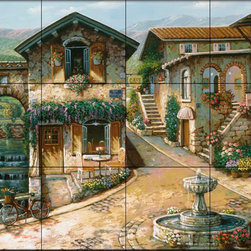 The Tile Mural Store (USA) - Tile Mural - The Fountain In The Square - Kitchen Backsplash Ideas - This beautiful artwork by John O'Brien has been digitally reproduced for tiles and depicts a village with cobblestone streets and houses with a water fountain in the center.  This street scene tile mural would be perfect as part of your kitchen backsplash tile project or your tub and shower surround bathroom tile project. Street scenes images on tiles add a unique element to your tiling project and are a great kitchen backsplash idea. Use a street scene tile mural, perhaps a Tuscan theme tile mural, for a wall tile project in any room in your home where you want to add interesting wall tile.