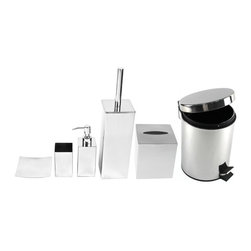 Gedy - Chrome Free Standing Bathroom Accessory Set - Complete bathroom accessory set.
