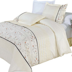 Bed Linens - Anna Egyptian cotton Embroidered Duvet Cover Set Full-Queen - You are invited to experience the comfort, luxury and softness of our luxurious Embroidered duvet covers. Silky Soft made from 100% Egyptian cotton with 300 Thread count woven with superior single ply yarn. Quality linens like this one are available only at selected Five Stars Hotels.