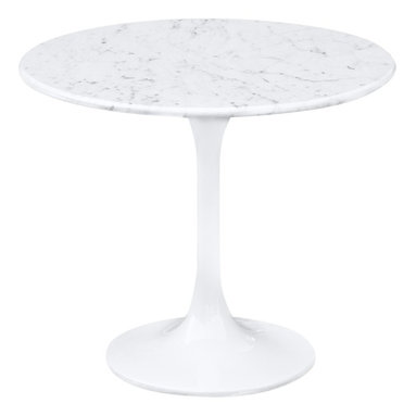 Lemoderno - Fine Mod Imports  Flower End Side Table White Marble Top, White - The Flower table has a Marble top, Its base is a heavy molded cast aluminum, while the shell is in reinforced molded fiberglass base Lacquered Light Gloss Finish    Assembly Required