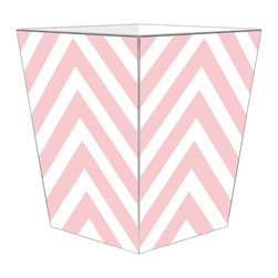 """Marye Kelley - Marye Kelley Pink Chevron Decoupage Wastebasket with Optional Tissue Box, 11"""" Sq - This is a handmade decoupage wastebasket with optional tissue box.  All items are handmade in the USA.  There are three different styles available.  There is the 12"""" Fluted Tin Design, the 11"""" Square Design with a flat top or the 11"""" Square design with a scalloped top.  Coordinating tissue boxes may also be made. Please note all items are custom made and may not be returned."""