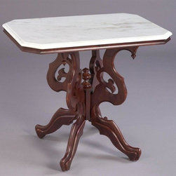 AA Importing - Rectangular Victorian Style Lamp Table w Whit - Victorian style. Marble top. Rectangular in shape. Wood construction. 20 in. L x 30 in. W x 26 in. H (56 lbs.)